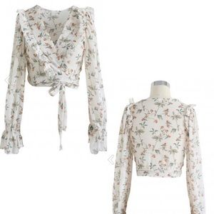 After Sunset Floral Wrap Crop Top in Ivory